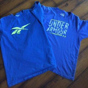 Under Armour and Reebok tshirts.  Men's small