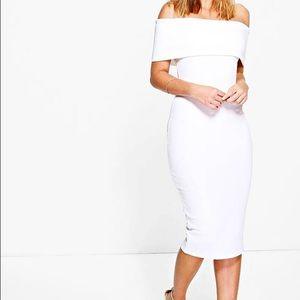 Brand New Boohoo Off Shoulder White Dress