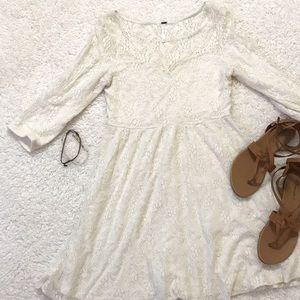 Free People Lace Crochet cream dress