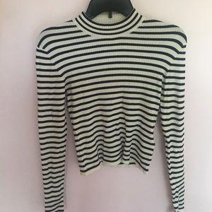 Striped mock neck crop sweater