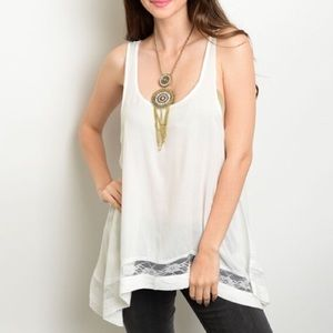 Tops - White relaxed fit tank w/ lace detail NWT✨HP