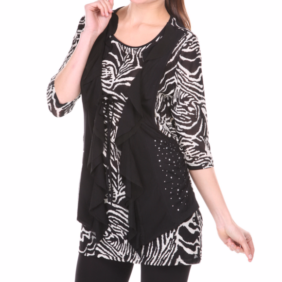 TES BOUTIQUE Tops - NEW TUNIC Top with attached vest