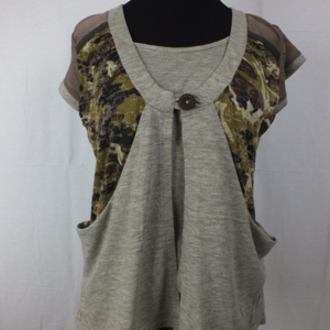 Layered Sheer Army Print Top
