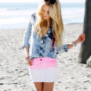 Zara Trafaluc Dip Dye Denim Mini Skirt