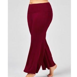 Pants - Deep Red Palazzo Pants (Plus Size)