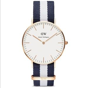 Daniel Wellington Striped Watch 💙 Blue White Rose