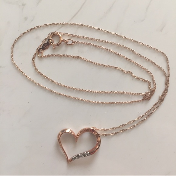 69 off zales jewelry zales rose gold 10k heart necklace for Where is zales jewelry