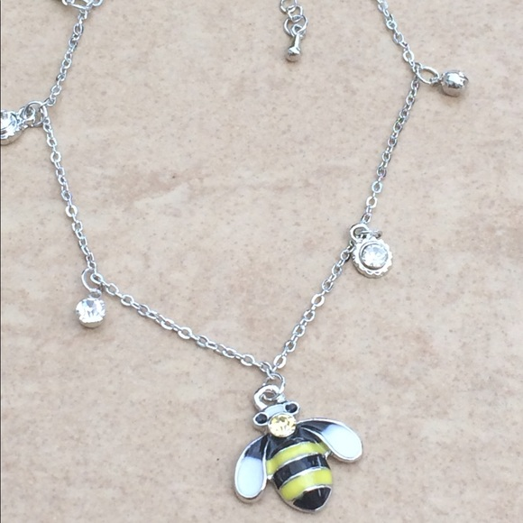 Jewelry - Silver Tone Yellow Enamel Charm Anklet Ankle