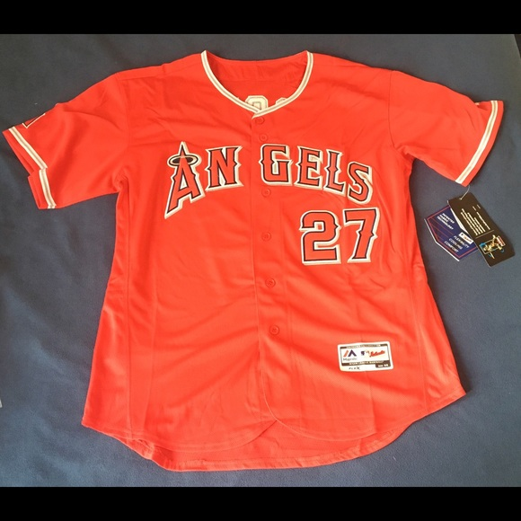 Los Angeles Angels  27 Mike Trout red jersey New 451e9d99f