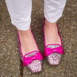 Kate Spade Glitter Loafers with Pink Satin Bow 🎀