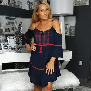 BOHO CHIC NAVY BLUE DRESS