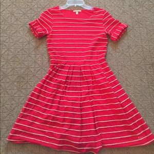 Red and tan striped dress