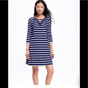 Navy striped lace-up swing dress
