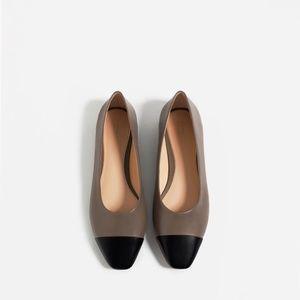NWT Zara Bicolor Leather Toe Cap Ballet Flats 36 6