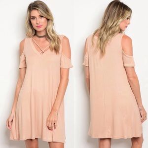 Dresses & Skirts - Tan Cold Shoulder Dress
