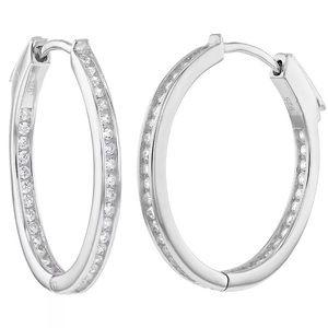 925 Sterling Silver Cubic Zirconia Hoop Earrings