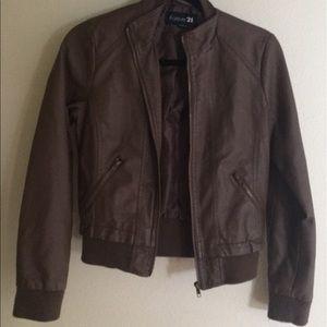 Chocolate Brown Zip Moto Jacket