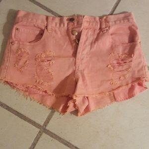 Forever21 Highwaisted distressed pink denim shorts