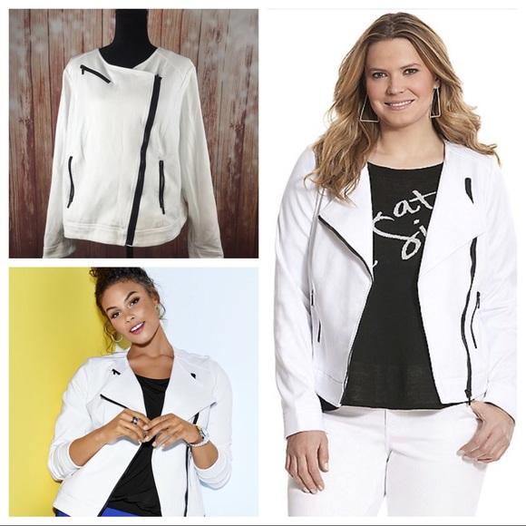 2d7496373ce Lane Bryant Jackets   Blazers - White ponte moto jacket w zippers Lane  Bryant 22