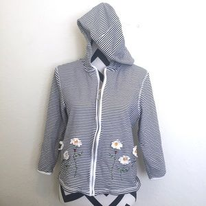 Jackets & Blazers - Striped Appliqué Hooded Jacket