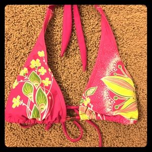 Cute Bikini top pink yellow white beads