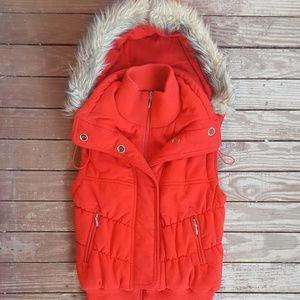 Red Faux Fur Ski Vest