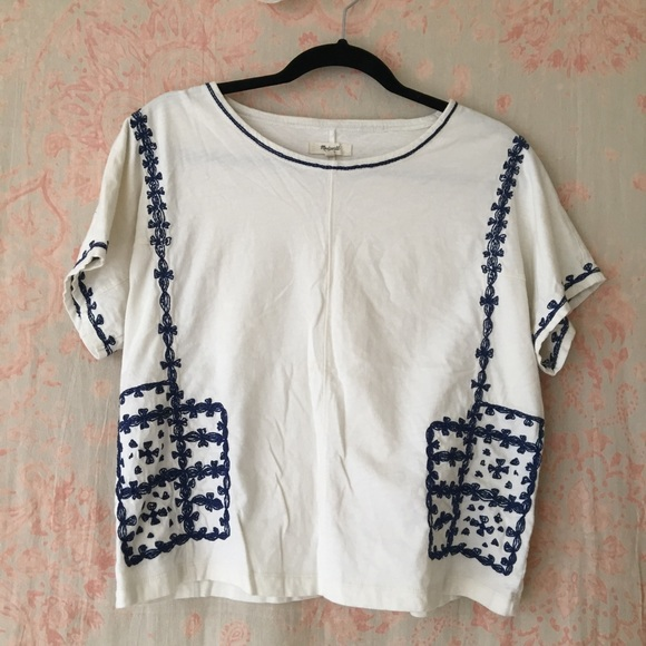 fcf7e75ec85757 Madewell Tops - Madewell blue and white embroidered top - size M
