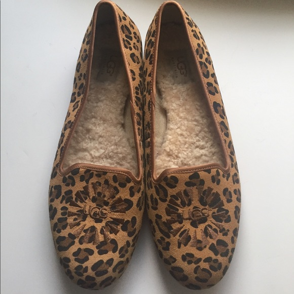 NEW Ugg Cheetah Print Smoking Shoe Flats Sz 9