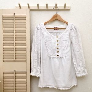 Juicy Couture Linen Smock Top with Embroidery Trim