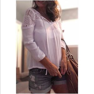 White • Lace • Peasant • Top