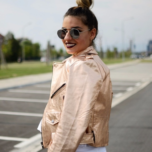 93a67c0c Zara Pink Rose Gold Metallic Leather Jacket Sz M. M_598693447fab3ac0a4058482