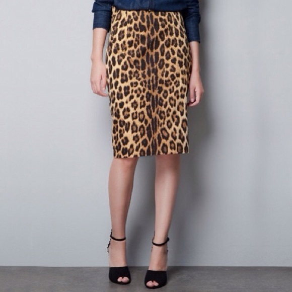 zara leopard zara high waist pencil skirt vintage from