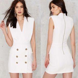 Nasty Gal Callisto Tuxedo Dress white