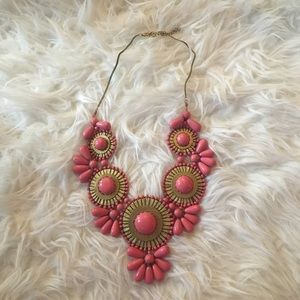 Pink & Gold Bib Necklace