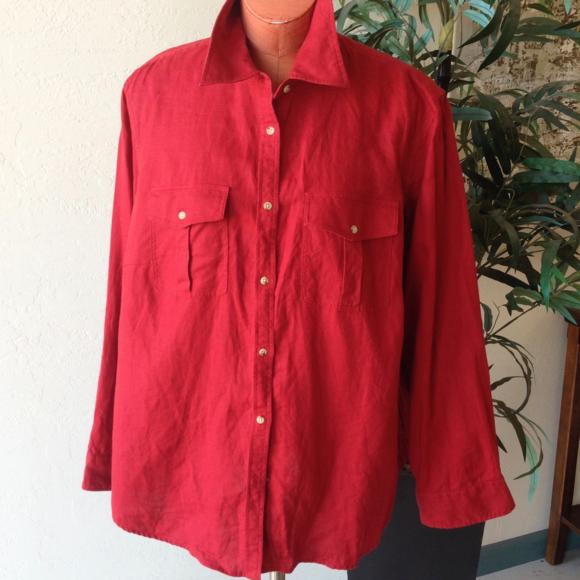 red linen shirt womens