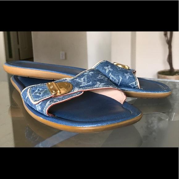 eb81b4896d20 Louis Vuitton Denim Sandals 🏃 ♀ 👒☂ 👙. M 59617f154127d099ea05423b