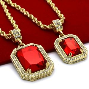 Other - Gold Plated High Fashion 2 Pieces Ruby Necklace