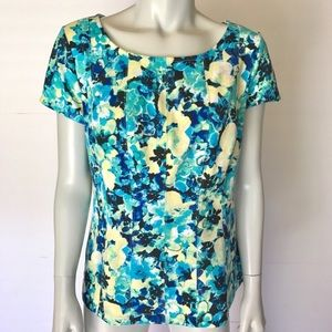 {ann taylor} colorful floral blouse