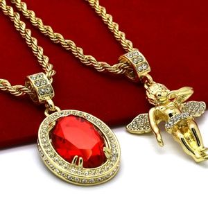 Other - Gold Plated High Fashion 2 Piece Ruby necklace set