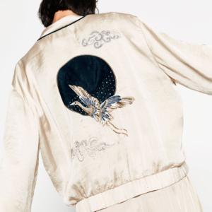 ZARA Glossy Embroidered Bomber Jacket