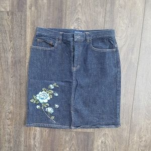 Ann Taylor Embroidered Floral Jean skirt - Size 8