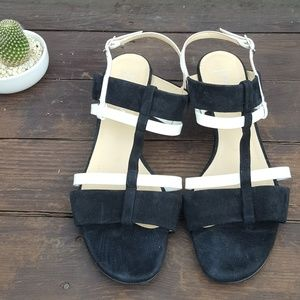 Aquatalia Wedge Sandal Black/White
