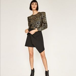 Zara sequin cheetah animal print crop top