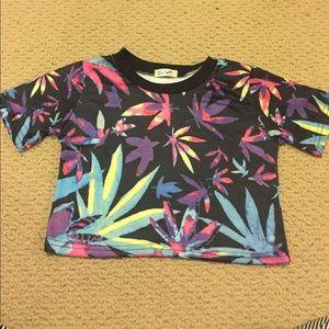 Rainbow weed crop top
