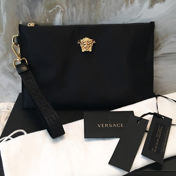 Versace Bags   Black Nylon Medusa Palazzo Wristlet Clutch   Poshmark f5f8812b6f