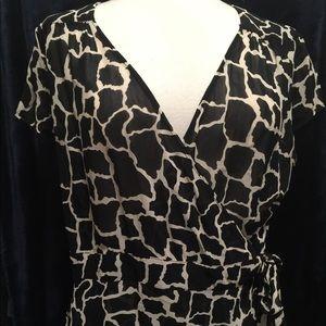 Giraffe print fitted wrap blouse - shear