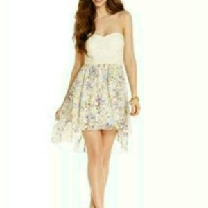 Strapless Trixxi High Low Floral Spring Dress