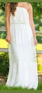 Dresses & Skirts - Boutique New White Cream Goddess Maxi Dress Lace