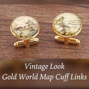 Other - ✨Vintage Look Gold Toned World Map Cuff Links