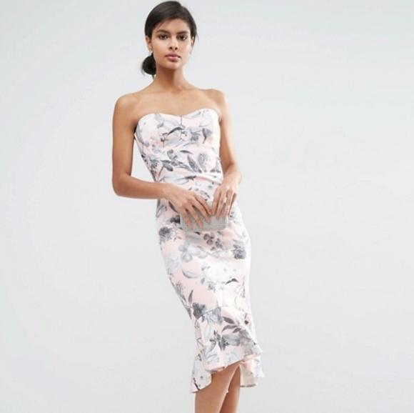 a4cb621a4d87 ASOS Petite Dresses   Skirts - ASOS Pink and Gray Floral Bandeau Midi Dress